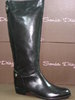 92964802 BLACK LEATHER BOOT, BACKSIDE ZIPPER, HEIGHT 38 CM.