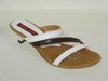 87174801 WHITE-BROWN LEATHER SANDAL, INSOLE LEATHER, SHORT HEEL