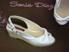 97060501 WHITE CANVAS, LINING AND LEATHER FLOOR, 4 CM WEDGE