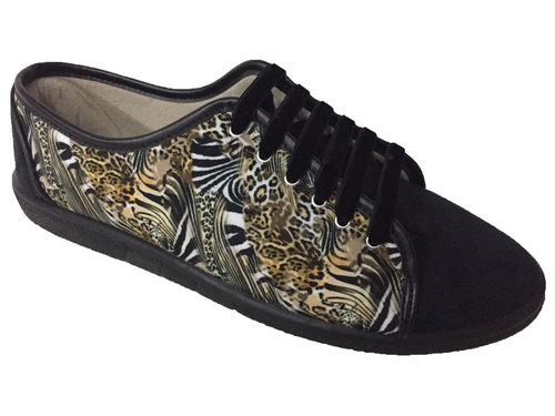8306700 BLACK & ANIMAL PRINT SNEAKERS, REMOVABLE INSOLE, SOLE RUBBER