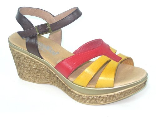 267900 RED-MUSTARD-DARK BROWN LEATHER SANDAL, CONFORTABLE INSOLE LEATHER, WEDGE 6 CM